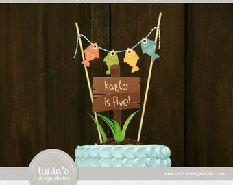 Gone Fishing - The Big One - Birthday Cake Topper - Personalized - by Tania's Design Studio
