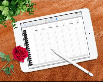 Have It Your Way Digital Planner for GoodNotes, Full Screen, Landscape, Black and White