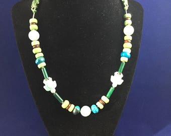 Beaded Turtle and stone Necklace