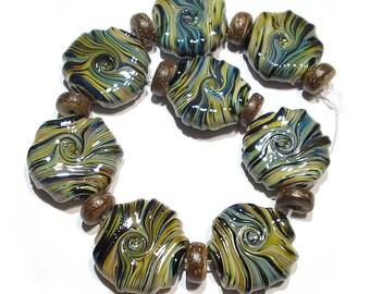 Handmade  Lampwork Glorious Raku Twist  Whirled Glass Tabular Beads