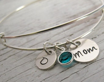 Personalized Expandable Mother's Bracelet, Sterling Silver, Hand Stamped, Grandmother Bracelet, Birthstones, Mother's Day Gift