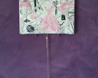 Handmade Bulletin Board -- Pink Sewing Material -- Message Board Wall Hanger