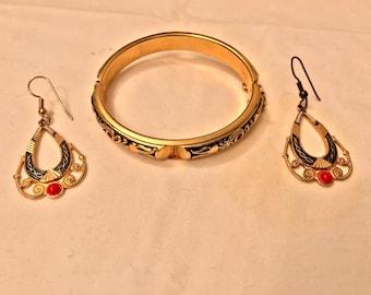Goldtone Filigree Bracelet and Drop Earrings