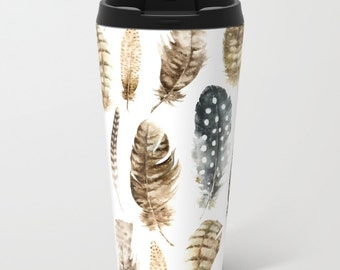 Feathers Metal Travel Mug - Boho Feathers Stainless Steel Travel Mug With Lid - Gift For Women - Aldari Home