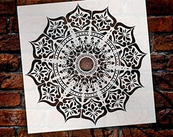 Mandala - India Stencil by StudioR12   Reusable Mylar Template   Use to Paint Wood Signs - Pallets - Pillows - Wall Art - Floor Tile -...