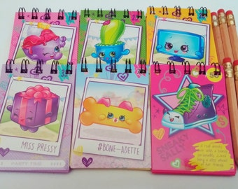 shopkins mini notebook party favors spiral up cycled cards 6 pack mini pencil