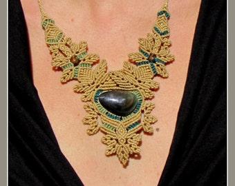 Micro Macrame Necklace with Rainbow Obsidian and unakite beads. Obsidian necklace. Hippie jewelry. Tribal jewelry. Boho jewelry.