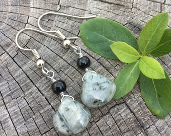 Tourmalinated Quartz Teardrops . Black Beads . Earrings