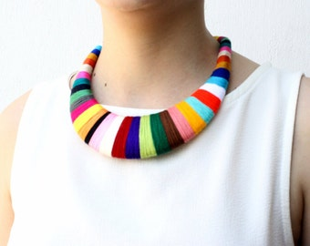 Colorful Statement Necklace Textile Bib Necklace Choker African Statement Fiber necklace Chunky Necklace Wrapped statement jewelry