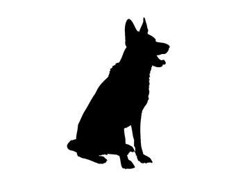 German Shepherd Dog Breed v3 Silhouette Custom Die Cut Vinyl Decal Sticker - Choose your Color