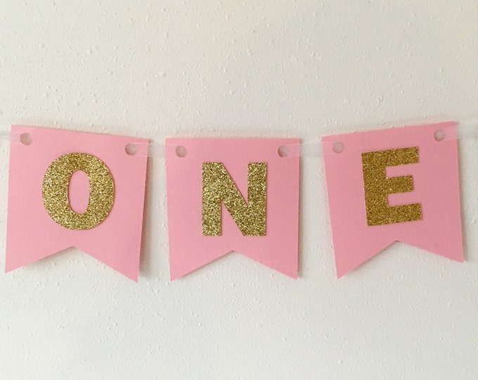 High Chair Banner In Gold. First Birthday Banner, Pennant Banner, Glittered Gold or Silver