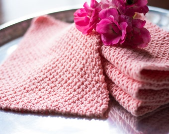 Coral Cotton Hand Knit Dishcloth