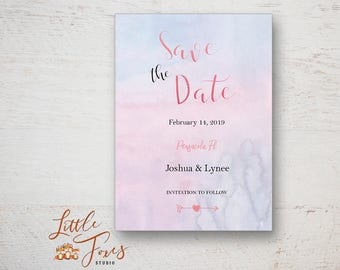 Watercolor Save the Date Card, Printable, Photoshop Template