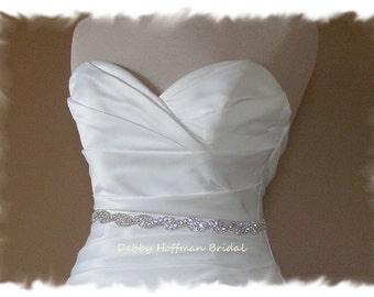 Crystal Wedding Belt, 28 Inch Silver Jeweled Wedding Belt, Rhinestone Crystal Bridal Belt, Rhinestone Encrusted Bridal Sash, No. 5050S-28