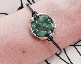 The Polycystic Kidney Disease Awareness Leather Cord Bracelet: The Life Collection/Sterling Silver/green Swarovski/ beads/beaded wrap/pkd