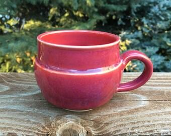 Wheelthrown, Pottery, Stoneware, Red Glazed, 8 oz., Mug