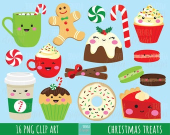 50 sale christmas clipart christmas treats commercial use christmas graphics instant download kawaii christmas desserts clipart