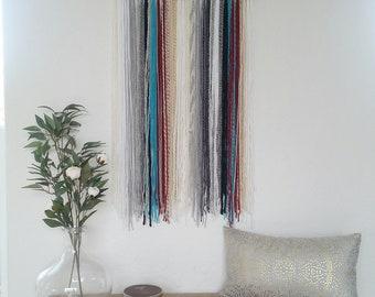 Yarn Wall Hanging, Yarn Tapestry, White, Cream, Gray, Burgundy, and Blue.