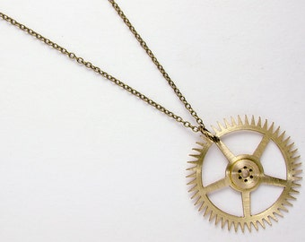 Clockwork Necklace, Brass Clock Gear Pendant with Brushed Finish Steampunk 2989