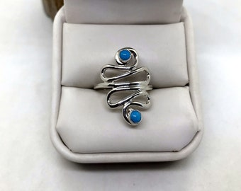 Sterling Freeform Ring with Turquoise size 8