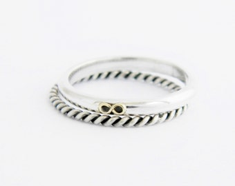 Sterling silver double ring, Infinity silver ring, silver stackable rings, set of 2 rings, stack rings