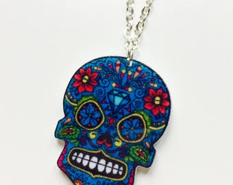 Sale   Skull   Sugar Skull   Candy Skull   Day Of The Dead   Halloween   Printed   Laser Cut   Acrylic   Necklace