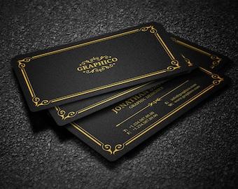 Elegant Vintage Business Card Design Template - Photoshop Templates - Modern, Clean, Corporate - Instant Download - v35
