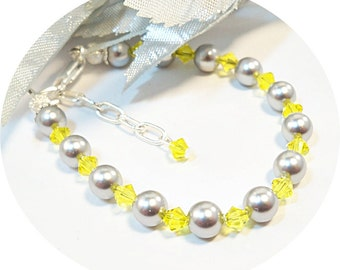 Yellow and Gray, Gray and Yellow, Grey, Gray, Little Girl Bracelet, Flower Girl, Toddler Bracelet,  Dressy, Kids Jewelry, Easter Jewelry,