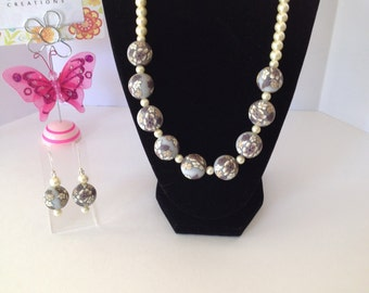 20 inch brown and gray clay beads and off white glass pearl neclace and earring set