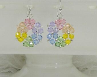 Swarovski earrings,Beaded earrings,Crystal earrings,Woven earrings,Beaded Swarovski,Beaded jewelry,Leverback,earrings,Clip on earrings