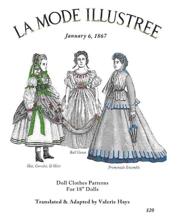 1867 La Mode Illustree Pattern Book For Antique French Fashion Dolls ...