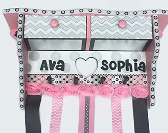 Personalized and Hand Painted Large Hair Bow Holder Shelf with Drawers, Made to Match, Pink and Gray Chevron