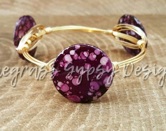 Dark purple lilac acrylic mermaid wire wrapped bangle, bracelet, Bourbon and boweties inspired