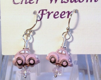 Pink Volkswagen Beetle Earrings