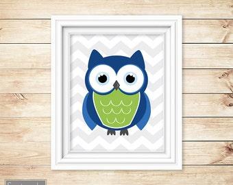 Owl Nursery Navy Lime Green Wall Art Grey Chevron Decor Playroom Boy's Room Printable 11x14 Digital JPG Instant Download (43)