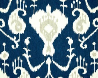 "Ready to Ship Java Ikat Navy Blue 50"" Wide X 63"" Long Panels Curtains"