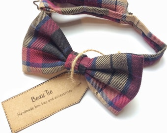 Plaid bow tie, tartan bow tie, mens bow tie, bow tie, mens wool bow tie, wedding bow tie, gifts for him