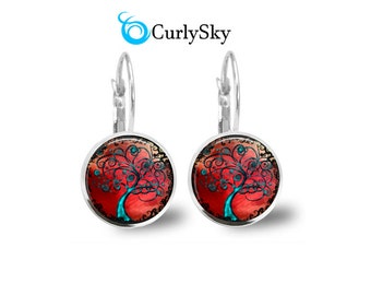 Crimson Tree of Life Dangle Earrings Crimson and Blue Tree Earrings Blue Tree Dangle Earrings Tree of Life Red Earrings Blue Tree Earrings