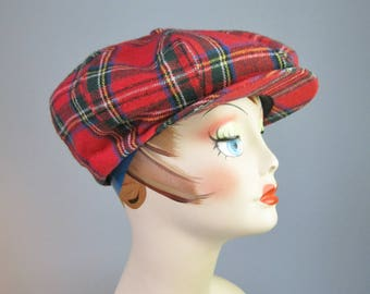 Newsboy Cap / Vtg 50s / Union Made Red Plaid Wool Newsboy Cap / Newsboy Hat / Deerstalker
