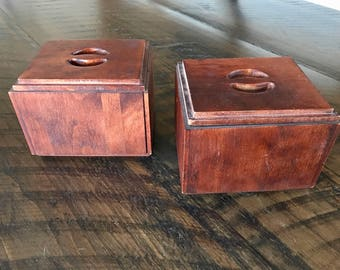 Vintage COFFEE TEA CANISTERS, Baribocraft Wood Boxes, Made in Canada, Vintage Woodenware Canisters, Kitchen Storage