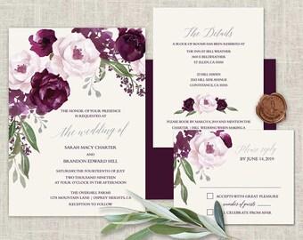 Purple Wedding Invitations Printable Set Plum Watercolor Floral Printed or DIY Print Set Template Watercolor Flowers Boho Wedding Invite Kit