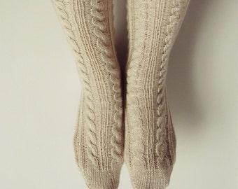 Hand knitted woollike acrylic, beige socks for women. Super fine yarn. Size: 7-8. Suits thin legs.