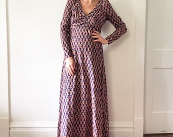 Vintage 70s India Block Print Cotton Dress , Block Print Maxi Dress , BOHO Kaftan