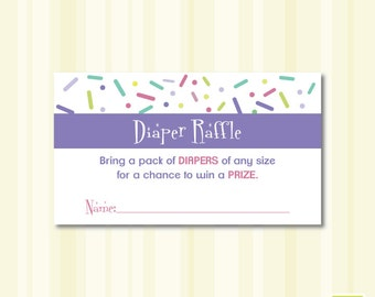 Baby Shower Sprinkle Diaper Raffle Instant Download Printable - Girl