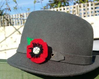 Red felt Poppy Brooch