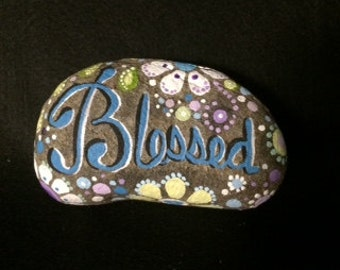 Painted rock, Blessed, hand-painted, flowers