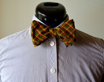 Green, Red, and Yellow Plaid Adjustable Bow Tie