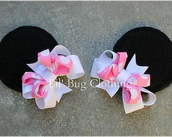 Bubble Gum Pink White Polk Dot Girls Minnie Mouse Ears Hair Clip Accessories
