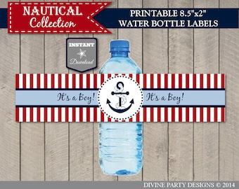 INSTANT DOWNLOAD Nautical Printable Water Bottle Label / It's a Boy Anchor / Baby Shower / Item #607