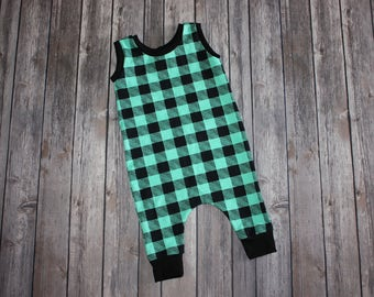 Toddler Romper, Baby Romper, Mint Plaid, Baby Harem Romper, Baby Girl Romper, Baby Boy Romper